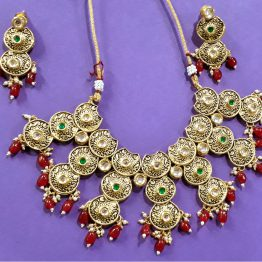 Meenakari Antique Choker Necklace Set (Gold, Ruby, Green)