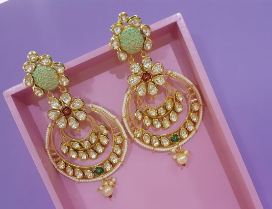 Big Round Kundan Earring (Neon Green and Red)