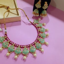 Kundan Studded Necklace Set (Gold, Mint)