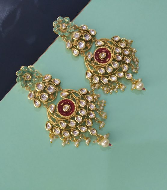 Kundan Earring (Neon Green and Red)