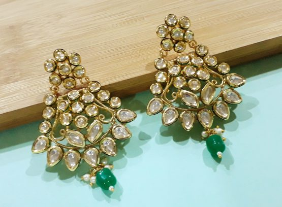 Kundan Earring (Gold, Green)