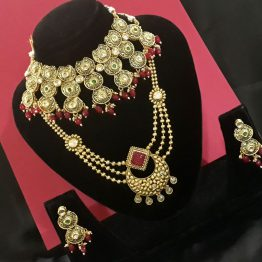 Meenakari Choker with Rani Haar (Golden, Ruby)