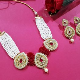 Polki Paan Choker Set (White, Ruby Green)