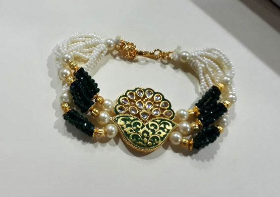 Multi Layer Beads Bracelet (Golden, Green)