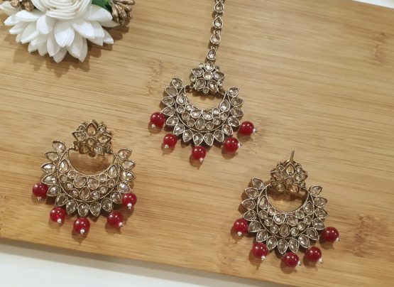 Ruby Drop Chand Earring with Maang Tikka(Gold, Ruby)