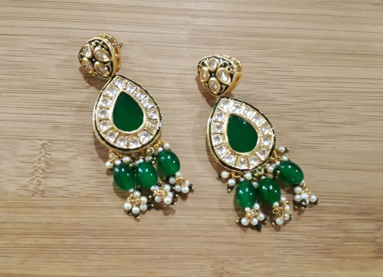 Heavy Beads Designer Rani Haar  (Gold, Green)