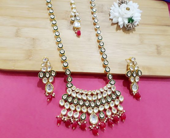 Long Kundan Rani Haar  (Gold, Ruby Green)