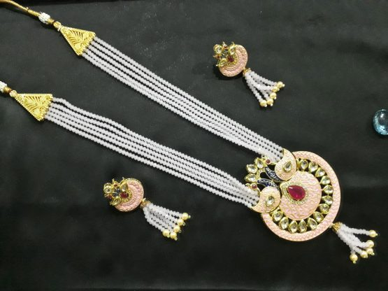 Antique Peacock Rani Haar (Gold, Pink)
