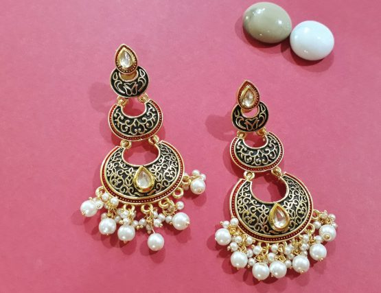 Moti Drop Meenakari Earring (Black, Red)