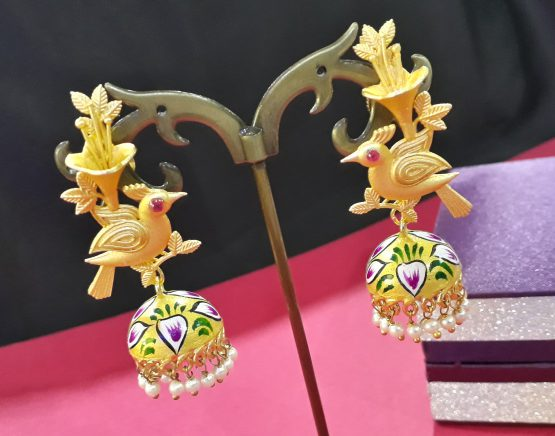 Hand Painted Birdie Jhumki (Gold, Yellow)