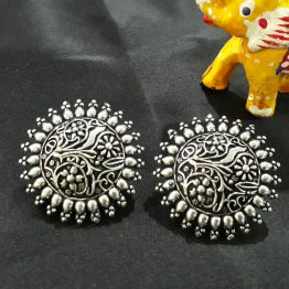 Round Handcrafted Oxidised Silver Earring