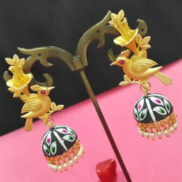 Hand Painted Birdie Jhumki (Gold, Black)