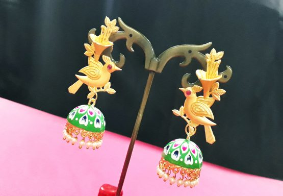 Hand Painted Birdie Jhumki (Gold, Green)