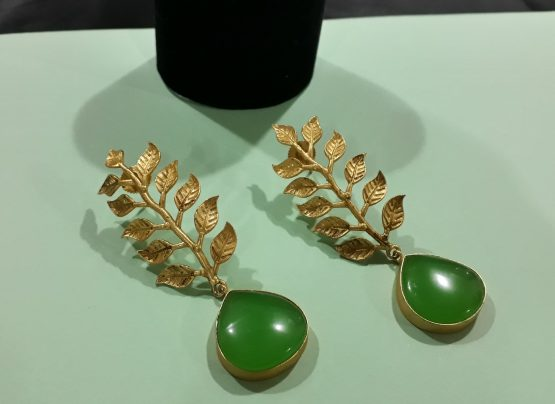 Long Leaf Stone Earring(Gold, Green)