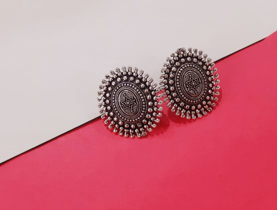 Oval Shape Handcrafted Oxidised Silver Stud Earring