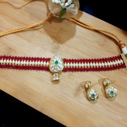 Kundan Choker in Ruby Green