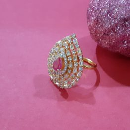 Paan Shape Ring (White, Ruby)