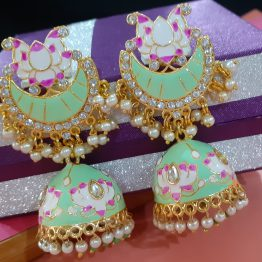 Meenakari Lotus Jhumki Earring (Gold, Green)