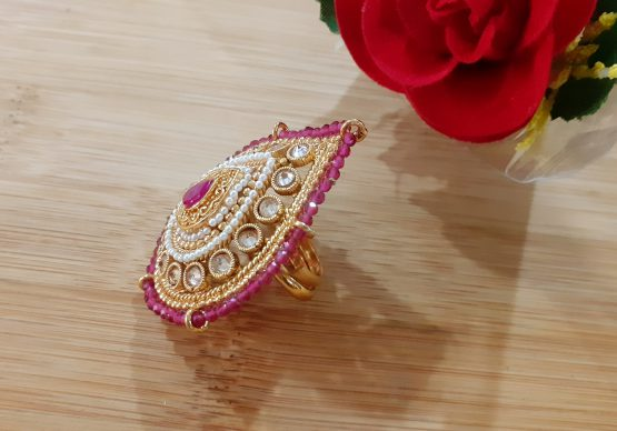 Big Size Pearl Border Paan Finger Ring (Golden, Ruby)