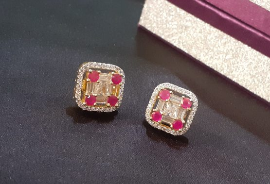 American Diamond Square Stud Earrings (White, Pink)