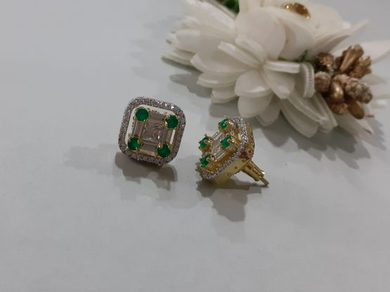 American Diamond Square Stud Earrings (White, Green)