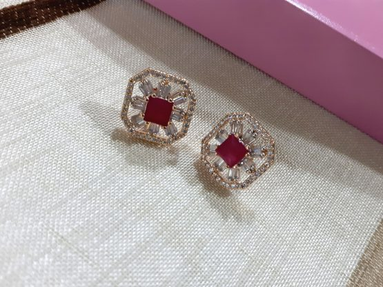American Diamond Square Stud Earring (White, Pink)
