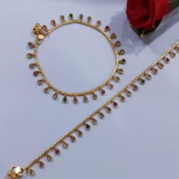 Antique Paan Stone Motif Payal (Gold, Ruby, Green)