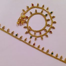 Antique Round Stone Motif Payal (Gold, Ruby, Green)