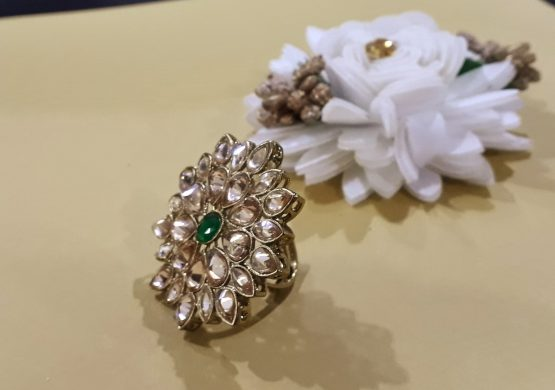 Big Size Finger Ring Embellished with Green Stone
