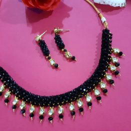 Black Faux Kundan Gems Choker Necklace Set
