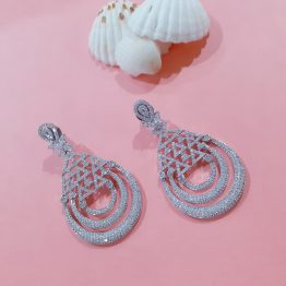 Studded Designer Earring with Rhodium Plating