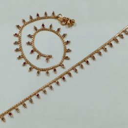 Antique Round Stone Motif Payal (Gold, Ruby)