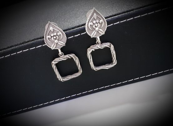 Square Design Silver Look A Like Antique Earring
