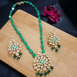 Beaded Kundan Rani Haar Necklace in Green
