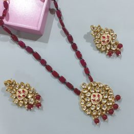 Ruby Beads Kundan Rani Haar Necklace Set
