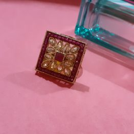 Square Finger Ring with Faux Polki Stones