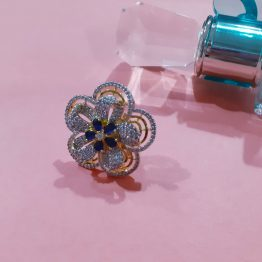 Double Flower Design AD Ring in Blue Stone