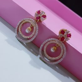 Round Shape Short Pearl Drop AD Earring