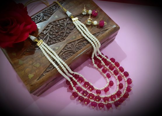 Ruby and Pearl Beaded Multi Layer Rani Haar