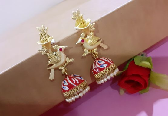 Hand Painted Bird Jhumki Earring (Gold, Red)