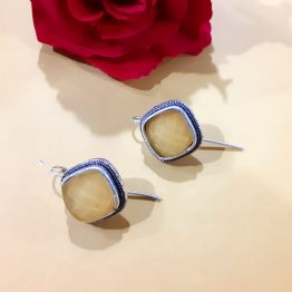 Faux Stone Oxidised Hoop Studs (Silver, Yellow)