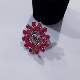 Big Size Oxidized Silver Adjustable Ruby Finger Ring