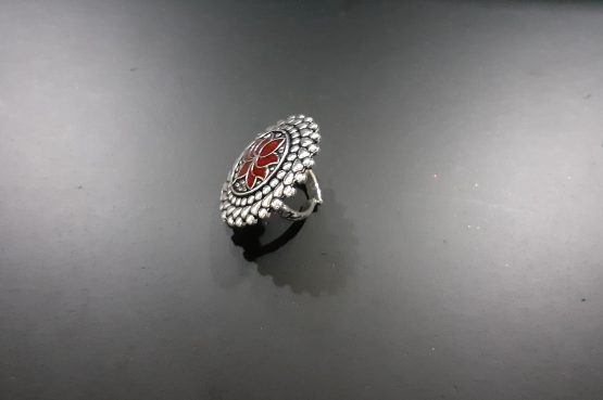 Lotus Oxidized Finger Ring (Red)