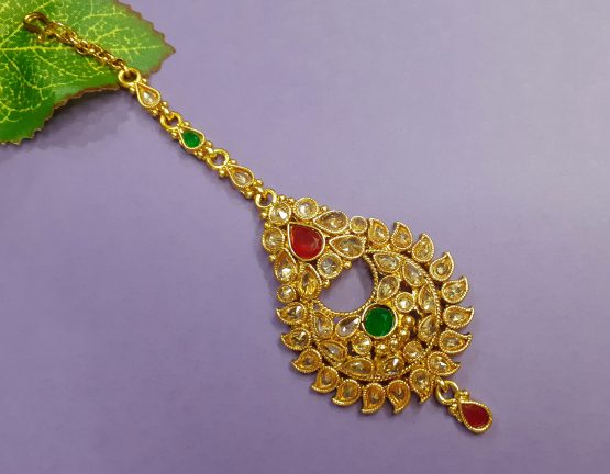Antique Chand Maang Tikka in Ruby Green