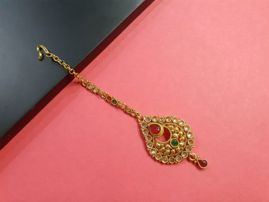 Antique Gold Plated Chand Maang Tikka