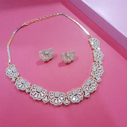 American Diamond Gold Plated Flower Necklace Set
