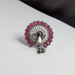 Oxidised Silver Ruby Stone Peacock Finger Ring