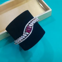 Ruby Stone AD Kada Bracelet with Rose Gold Plating