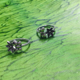 Oxidised Silver Butterfly Toe Ring Set