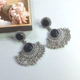 Oxidised Silver Tribal Chandbali Earring Adorned with Black Stone